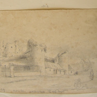 Street in Trim. Outwork of Castle. The Keep Beyond. 16 Sept 1859