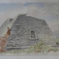 ancient oratory 1250 feet NW of Kilmalkedar old church signed Geo V DuNoyer July 1856