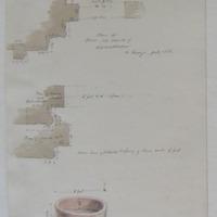 Plan of Door Old Church of Kilmalkedar Co. Kerry July 1856; Plan of chancel arch; Stone Font (dark purple gist)