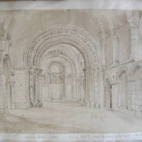Cormac's Chapel Cashel. Original sketch for Petrie's engraving in his book on the Round Towers. Geo V Du Noyer. Delt Nov 1840