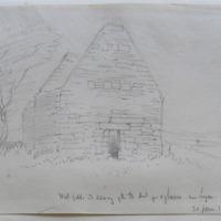 West gable and doorway of Agharra near Legan. Co. Longford. 30 June 1864