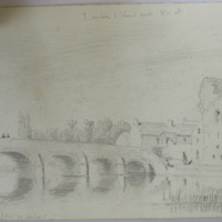 Leighlin Bridge and Castle. 7 arches 1 blind arch 8 in all