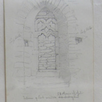 Interior of East window, St Katherines Chapel, North of Ballyhack, Hook Bay, Co. Wexford, May 1850; walls of limestone, … [?]