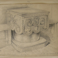 Ancient Font from Bannow Old Church. at present in RC Chapel Carrick. Nov 13 1849