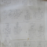 [shields of:] Johnstone; arms unkown; unknown, ? Cahan; CAHAN; Mc Sparran; Buchannan 1697; sine macule, Corry 1716; Hamilton; Stevenson, 1722; Halliday ?; Solo in deo spes, Fannin ?
