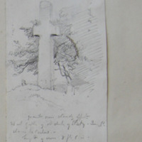 at old church of Slaty; Queens Co. close to Carlow. granite cross standing opposite West Gable of old church of Slaty Queens Co. Close to Carlow height of cross 8 ft 6 in