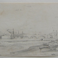 Carlow bridge from the Barrow. March 9th 1847