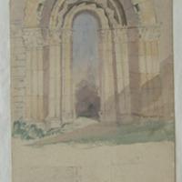 Doorway of old church of Inchagaile Lough Corrib 28 July 1857