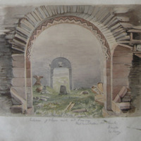 Interior of choir arch and doorway Kilmalkedar old church Dingle Co. Kerry Signed. July 1856
