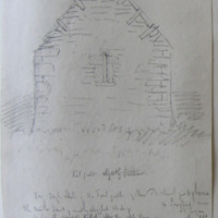 """Very rough sketch of east gable of the old church of Agharra Co. Longford near Lagan. Sheet 23/3. 30 June 1864. window… style """"bird pecked"""""""