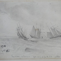 Time to more, no holding on; Gale coming up from the S.E.; Arklow Bay; 29 July 1861