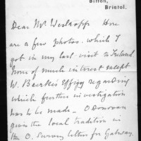 Letter from H.T. Knox to Thomas J. Westropp July 26, no year given.