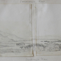 Panoramic View, May 15th 1855; Muckross Lake; Tommies mt; Glenna mt; Muckross House; Tralee Mountains; vv my residence; Ross Castle; Flesk River