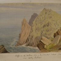 Cliffs on the northern side of Inishtooskert Island (northern Blasket) co Kerry; View looking Eastward. 27 Jan 1856