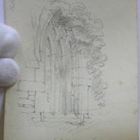 East window Kilronan church [elevation and plan]