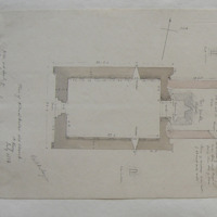 Plan of Kilmalkedar old Church Co. Kerry. July 1856. Signed. Scaled plan