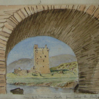 View of O'Donovan's Castle from below the bridge. November 1853
