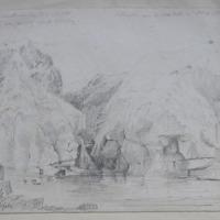 Dunluce waterfall. Waterfall near Dunluce Castle Nov 11, 1839