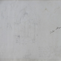 Caher Abbey [window and rear arch; dimensions; to left various figures in a variety of Cloaks