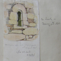 Exterior E window Agha church 1 foot from Ground. 9th August 1848. Agha old church Co. Carlow