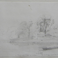 """In Derravaragh Lake at Coolure. The boat men arrived and I had to """"knock off"""". 28 May 1864"""