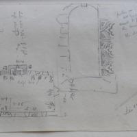 Liscarton old church Co. Meath. Near Navan. 30 June 65 [annotated plan, window elevation]