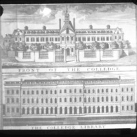 An illustration of the west front of Trinity College and the library, as as illustrated in Charles Brookings map of 1728.