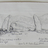supposed Altar Stone 14f. 6i. long, 3f. 8i. broad, 3f. 10i. Thick, upright stones 8f. 6i. High; drawn by col. Forbes Leslie; Part of a stone circle Midmar Aberdeenshire, in the church yard
