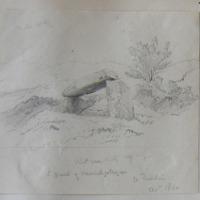 Kist vaen looking W. S flank of Carrickgollogan Co. Dublin. Oct 1860