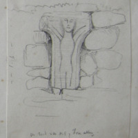 On road in the NE of Fore Abbey. [cross with figure sculpture]. The remains of the cross and the square plinth close by.