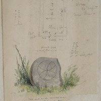 Plan of old church at Clone; Cross and Circle inscribed in a polished block of ? Close to the old church of Clone near Ferns Co. Wexford