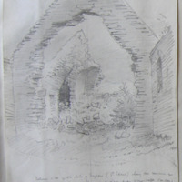 Interior of the old church at Foyran (St. Edans) showing the remains of the stone roof of the chancel with the side passage on the north side leading to the croft (see plan) Co. W Meath. Sheet 1/4. N of Castlepollard. June 1864