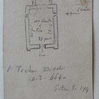 . St Fechin died a.d. 644. Petrie p. 174. medieval chancel [annotated plan]