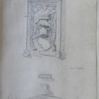 Tablet over the Door of the parish church of Stackallen, Co. Meath, April 17 1845; about 1490; see Lusk church
