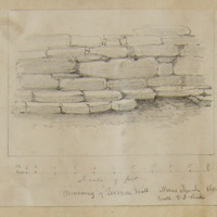 Masonry of Termon wall. Nun's Church Clonmacnoise [scaled elevation]. Walls 3.8 thick