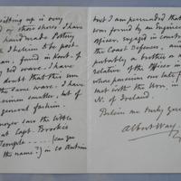 Letter, Malvern 24 April 1871. Signed Albusway