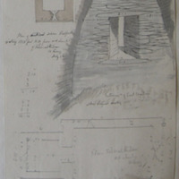 plan of ancient stone roofed oratory; interior of east window stone roofed oratory; plan Kilmalkedar old church July 1856