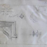 Exterior Window S wall Hermitage St Erk Slane Demesne; window S side of chancel  [square hood moulding, dished spandrel, moulding ]