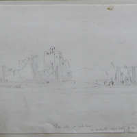 Fore Abbey and Gate House. Co. W Meath. View looking NW