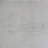 The Rock of Cashel from the summit of the Clock Tower, Cashel. Geo V Du Noyer. Oct 1840
