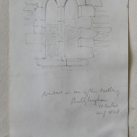 window in one of the castles of Ballyloughan Co. Carlow. Aug 1848 (Ballinree Castle Temple Molasha)