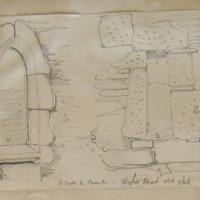 Clogher Head Old church. S wall of chancel. Calcarous Tufa
