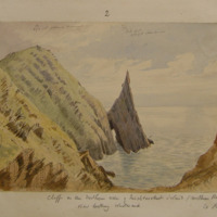 Cliffs on the northern side of Inishtooskert Island (northern Blasket) Co. Kerry; View looking Westward. 27 Jan 1856