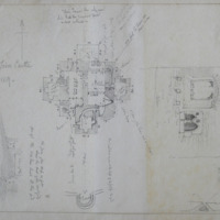 Keep of Trim Castle. 14 Sept 1859. [measured plan] Section of base of Keep of Trim Castle. [interior elevation] looking E
