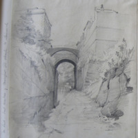 canal at Chester, the old jail to the left; August 12. 1845