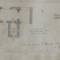 Dunmoe Castle Co. Meath June 1866 [Scaled plan] arched basement. Modern dwelling house ruins [attached to east gable]. Steps to main