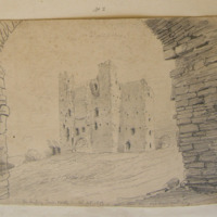 The keep of Trim Castle 12th Sept 1859. from the entrance gateway.