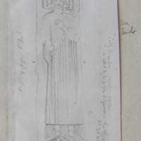 """""""Lady Brandon""""… so called by the people of Gowran. The effigy is I think that of a male figure. Length of figure 6 feet. [sections]"""