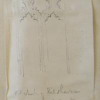Old church of Kilsharvan Co. Meath. Sheet 27/2 window in S wall interior. Below Bellewstown Hill