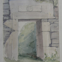 Exterior of Door. St. Fechin's church Fore. 3ft 6in below. Present height 5-7. Thickness of wall 3ft